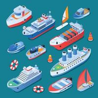 Ships Isometric Icons Vector Illustration