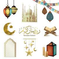 Ramadan Kareem Realistic Set Vector Illustration