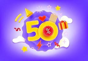 Fifty percent shopping discount illustration vector
