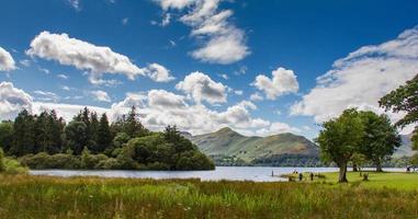 Idyllic scene of Lake Derwent Water, Lake District, Cumbria, UK photo