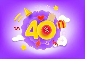Forty percent shopping discount illustration vector