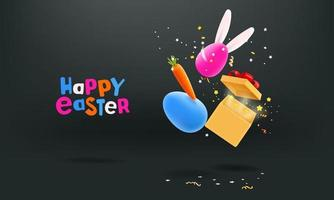 Easter banner with falling realistic objects vector