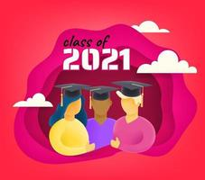 Students with graduation cap 3d style vector
