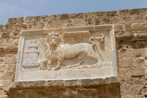 Sculpture of the winged lion of St Mark in Famagusta,Cyprus photo