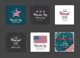 conjunto de tarjetas del día conmemorativo vector