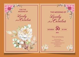 Floral wedding card design templates vector