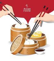 Dim sum menu set Asian food vector illustration