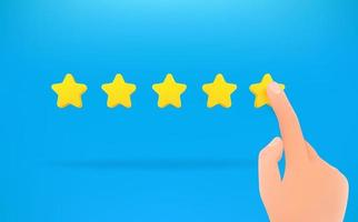 Five stars ranking, hand makes a choice vector