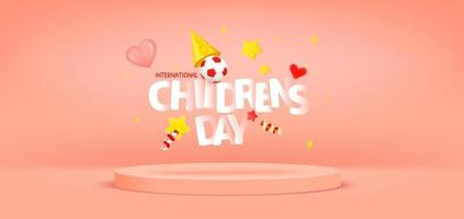 International Childrens day greeting card with podium vector