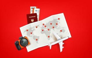 Ilustración de viaje con bolsa roja, mapa de papel, modelo de avión, boletos, cámara. vector