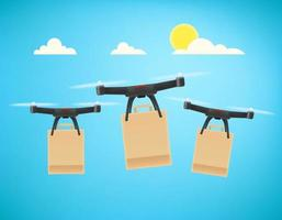 Fast delivery service by drones vector