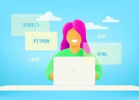 Web developer working via internet vector