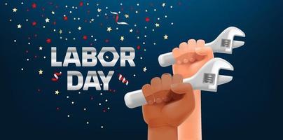 tarjeta de felicitación horizontal del día del trabajo. manos fuertes con llave de metal vector