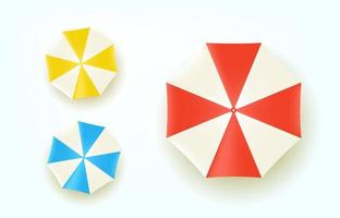 Color umbrellas top view. Vector set isolated