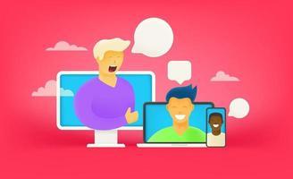 Diálogo online a través de Internet. concepto de chat en línea vector