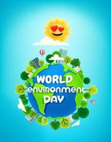 World environment day banner with trees on the Earth vector
