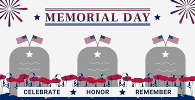 Tarjeta de felicitación del día de los caídos de Estados Unidos con una tumba, una bandera de amapola y fuegos artificiales ilustración vectorial vector