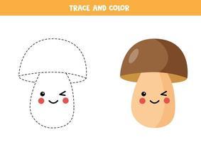 Tracing lines with cute cartoon mushroom vector