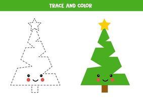 Tracing and coloring cute kawaii christmas tree vector