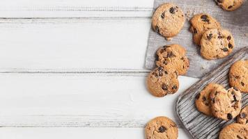 Top view chocolate cookies photo