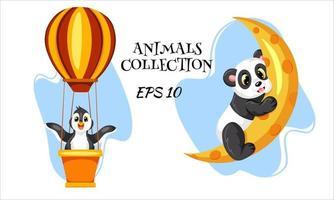 personajes de animales salvajes pingüino y panda estilo de dibujos animados vector