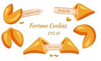 Sweet Luck Fortune cookies set Cartoon style vector
