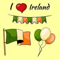 irlanda está varada bandera banderas globos estilo de dibujos animados vector