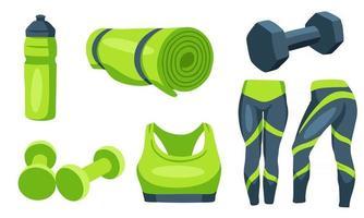 artículos de fitness mancuernas ropa de entrenamiento estera estilo de dibujos animados vector