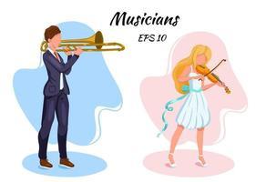 músicos personajes violinista y trombonista estilo de dibujos animados vector