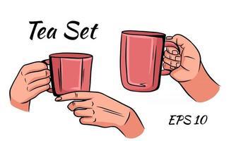 taza de té o café en manos femeninas en estilo de dibujos animados vector