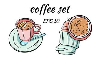 A mug with coffee in hand in gentle tones is drawn in a cartoon style vector