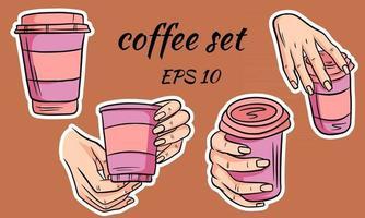 vaso de café para llevar en la mano y dibujado por separado en estilo de dibujos animados vector