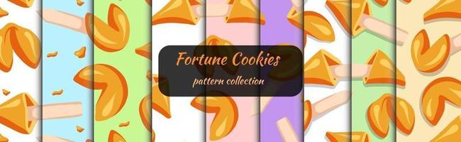 Fortune cookies set of seamless patterns drawn in cartoon style vector