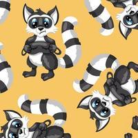 mapache de carácter de animales con patrón sin costuras antifaz en estilo de dibujos animados vector