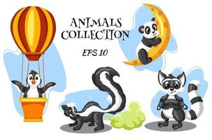 Animals characters skunk raccoon panda and penguin in cartoon style vector
