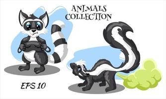 personajes de animales salvajes mapache y zorrillo estilo de dibujos animados vector