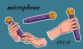 Microphone Sound Increase the volume of your voice Microphone in hand Cartoon style vector