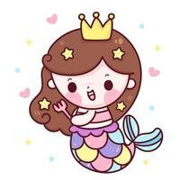 princesa sirena cepillo de pelo de dibujos animados usando un tenedor ilustración kawaii vector