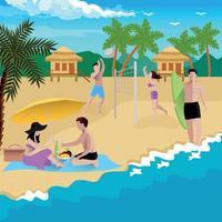 People On Beach Background Vector Illustration