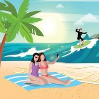 Beach Vacation Holidays Composition Vector Illustration