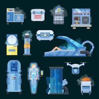 Cryonics Human Organs Transplantation Icons Vector Illustration
