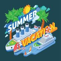 Cruise Ships Isometric Composition Vector Illustration