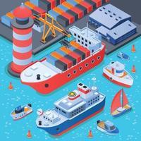 puerto con barcos de composición isométrica. vector