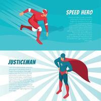 Isometric Superhero Banners Vector Illustration