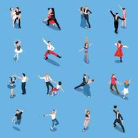 Dances Professional Performers Isometric People Vector Illustration