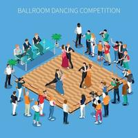Ballroom Dancing Competition Isometric Composition Vector Illustration