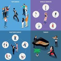 Ilustración de vector de concepto de diseño isométrico de bailes