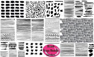 Big Collection Of Grunge Brush Strokes vector