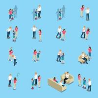 Family Problems Isometric Icons Vector Illustration