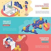 Crowdfunding Horizontal Banners Set Vector Illustration